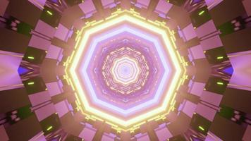 Patrón abstracto gráfico con lámparas de neón en la ilustración 3d