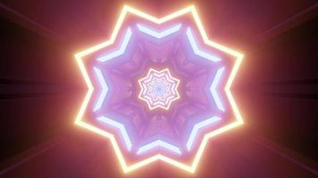 Gleaming neon star shaped ornament 3d illustration photo