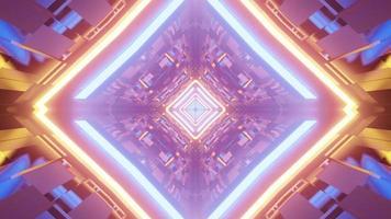 Ilustración 3d de figuras geométricas de neón en el túnel foto