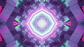 Ilustración 3d de patrón geométrico abstracto multicolor con figuras brillantes foto