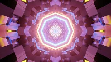 Ilustración 3d de iluminación de neón brillante sobre fondo abstracto foto