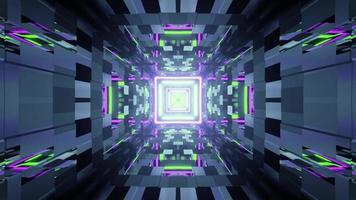 3d illustration of geometric tunnel with neon lights photo