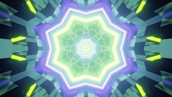 3d illustration of kaleidoscopic glowing corridor photo
