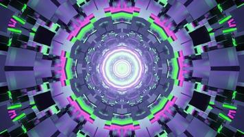 3D illustration of multicolored tunnel with abstract neon pattern photo