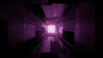 Diseño interior geométrico del edificio urbano con luces de neón ilustración 3d foto