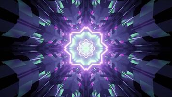 3D illustration reflection of neon ornament in tiled walls of tunnel photo