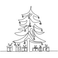 Christmas tree and gift box continuous one line drawing. Christmas pine fir tree decoration for celebration christmas party isolated on white background. Merry Christmas and Happy New Year theme vector
