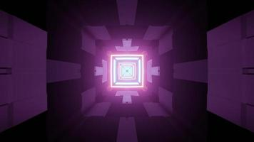 Purple tunnel with geometric neon lights 3d illustration