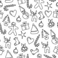 un dibujo de línea continua de la fiesta de Navidad. patrón de invierno sin fisuras. Fondo de Navidad, mosaico sin costuras, excelente opción para envolver el patrón de papel. feliz navidad y próspero año nuevo concepto vector