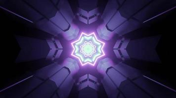 Sci fi tunnel with glowing geometric shaped lights 3d illustration photo