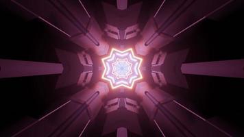 Sci fi spaceship hallway with neon illumination 3d illustration photo