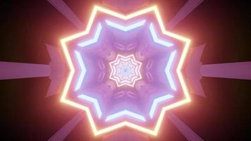 Glowing star shaped pattern with colorful lights 3d illustration photo