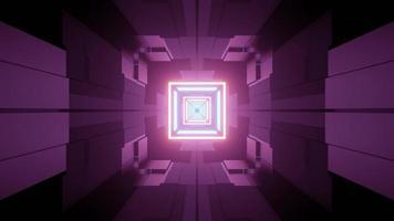 Diseño interior futurista del pasillo con iluminación de neón ilustración 3d foto