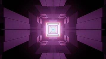 Futuristic style corridor with neon lights 3d illustration photo