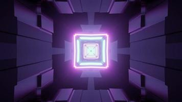Futuristic tunnel with purple neon illumination 3d illustration photo