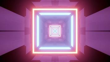 Shiny neon geometric shaped illumination in futuristic tunnel 3d illustration photo