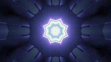 Star shaped neon lights inside of dark tunnel photo