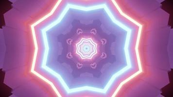 Neon light reflections in futuristic tunnel 3d illustration photo