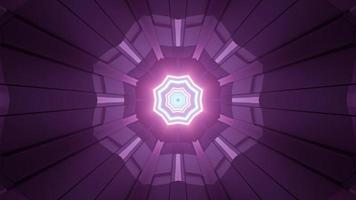 Shiny purple geometric pattern with neon lines 3d illustration