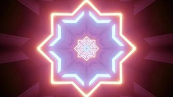 Neon colored octagonal star pattern 3d illustration photo