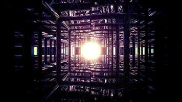 Mirrored passage with shiny light 3d illustration