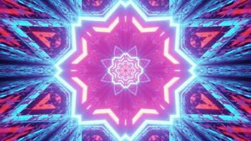 Abstract neon star shaped pattern 3d illustration