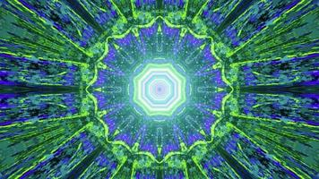 3D illustration of neon light forming abstract fractal pattern photo