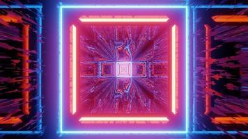luces de neón en forma cuadrada ilustración 3d foto