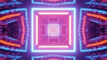 colorida iluminación de neón de la ilustración geométrica del túnel 3d foto