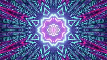 3D illustration of glowing kaleidoscope background with neon lights photo