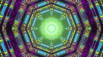 3D illustration of kaleidoscope hexagon shaped pattern with multicolored lights photo