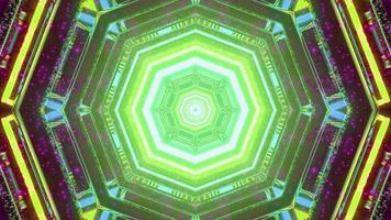 Ilustración 3d de laberinto en forma de hexágono con iluminación de neón foto