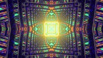 3d illustration of geometric glowing corridor photo