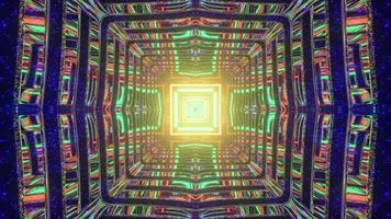 Ilustración 3d de patrón abstracto gráfico en laberinto oscuro