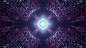 Ilustración 3d de patrón de mosaico gráfico con iluminación de neón