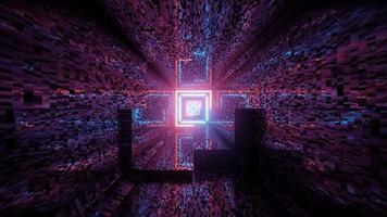 3d illustration of futuristic geometric corridor photo