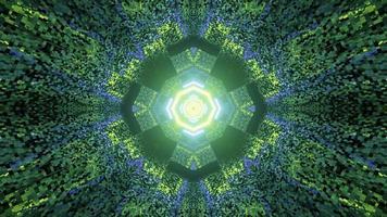 laberinto con paredes de azulejos y patrón abstracto en la ilustración 3d foto