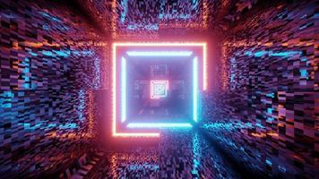 3d illustration of bright neon corridor photo
