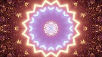 3D illustration of glowing ornamental pattern with neon illumination photo