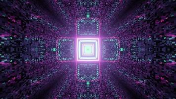 Geometric cross shaped ornament shining on colorful tunnel in 3D illustration