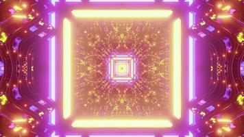Square tunnel with neon illumination 3D illustration photo