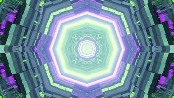 Octagon neon ornament 3D illustration photo