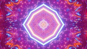 Neon tunnel with kaleidoscopic ornament 3D illustration