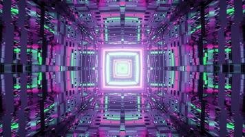 Distorted walls in colorful square tunnel 3D illustration