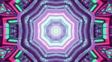 Colorful neon tunnel 3D illustration with geometric ornament