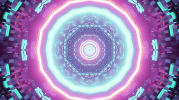 Bright neon tunnel 3D illustration with geometric ornament