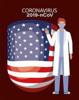 Banner de coronavirus con médico con diseño de vector de bandera de Estados Unidos