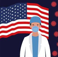 Banner de coronavirus con diseño de vector de bandera de médico y EE. UU.