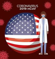 Coronavirus banner with doctor and usa flag vector design