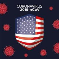 Banner de coronavirus con diseño de vector de escudo de bandera de Estados Unidos